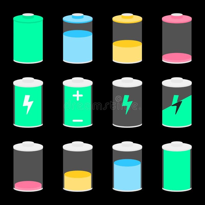 Auch im corel abgehobenen Betrag Batterieikonen eingestellt für Entwurf stock abbildung