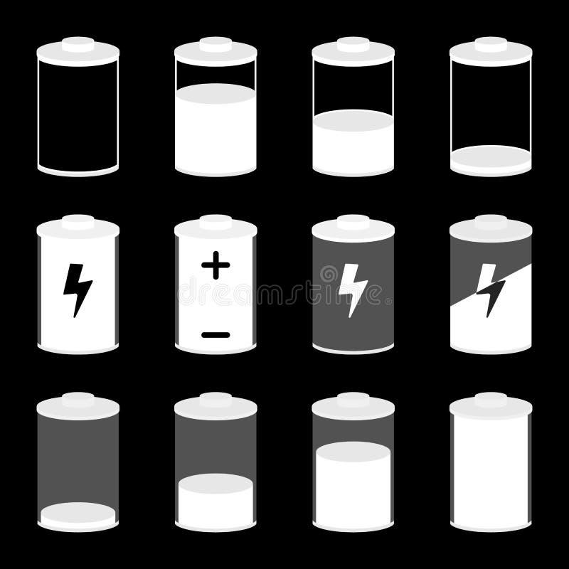 Auch im corel abgehobenen Betrag Batterieikonen eingestellt stock abbildung