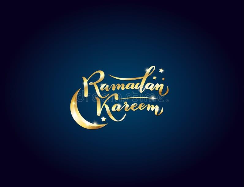 Auch im corel abgehobenen Betrag Beschriftungstext islamischen Ramadan Kareem-Gru?es sch?ner Goldmit Mond, Sterne auf Nachthinter vektor abbildung