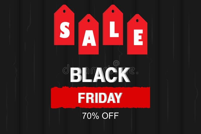 Auch im corel abgehobenen Betrag Black Friday-Verkaufsfahne mit Preis- und Holzbeschaffenheitshintergrund stock abbildung