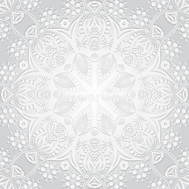 Auch im corel abgehobenen Betrag Blumenrundschreibenhintergrund Eine stilisierte Zeichnung mandala Stilisierte Spitzeverzierung I stock abbildung
