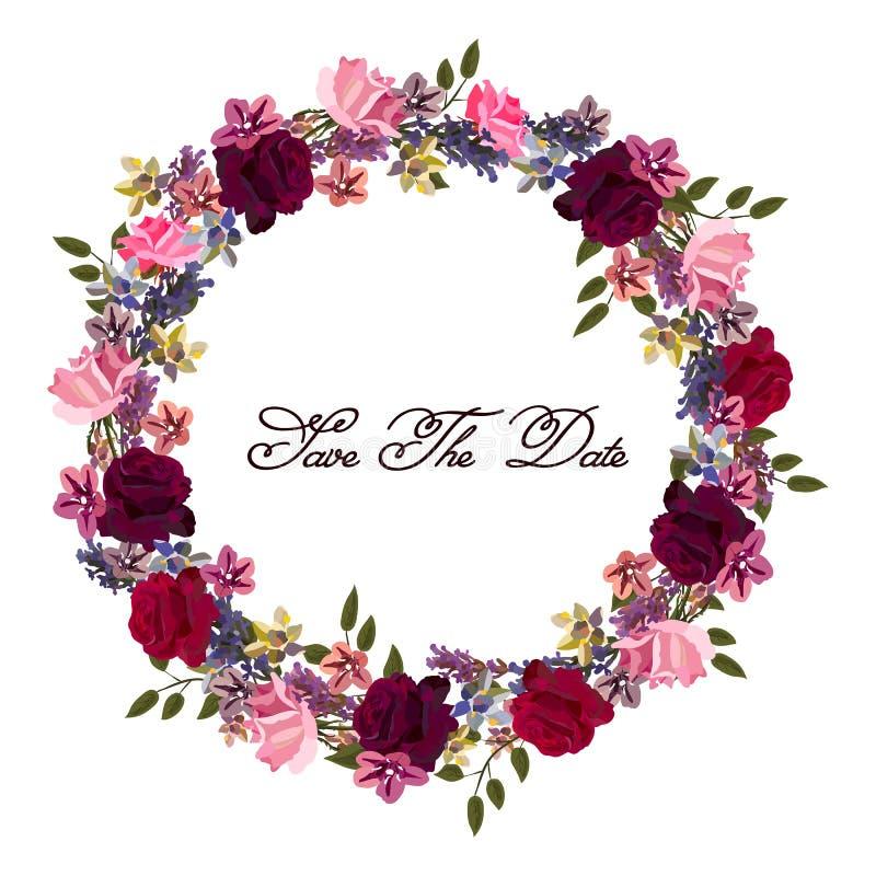 Auch im corel abgehobenen Betrag Der Blumenrahmen, der vom Lavendel gemacht wurde, stieg Blumen Purpurrote Farben stock abbildung