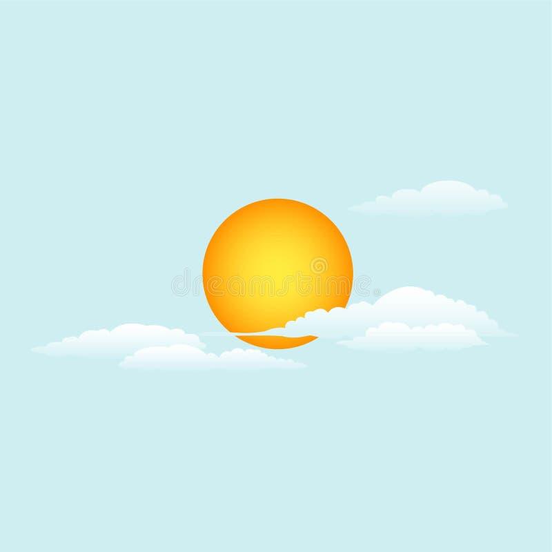Auch im corel abgehobenen Betrag Die Sonne und die Wolken Tageshimmel stock abbildung