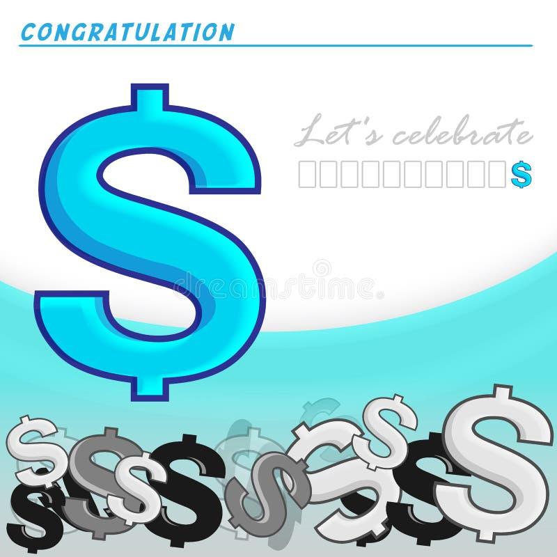 Auch im corel abgehobenen Betrag Dollar unterzeichnen auf weißem und blauem Hintergrund Feiern Sie Karten-Entwurf vektor abbildung