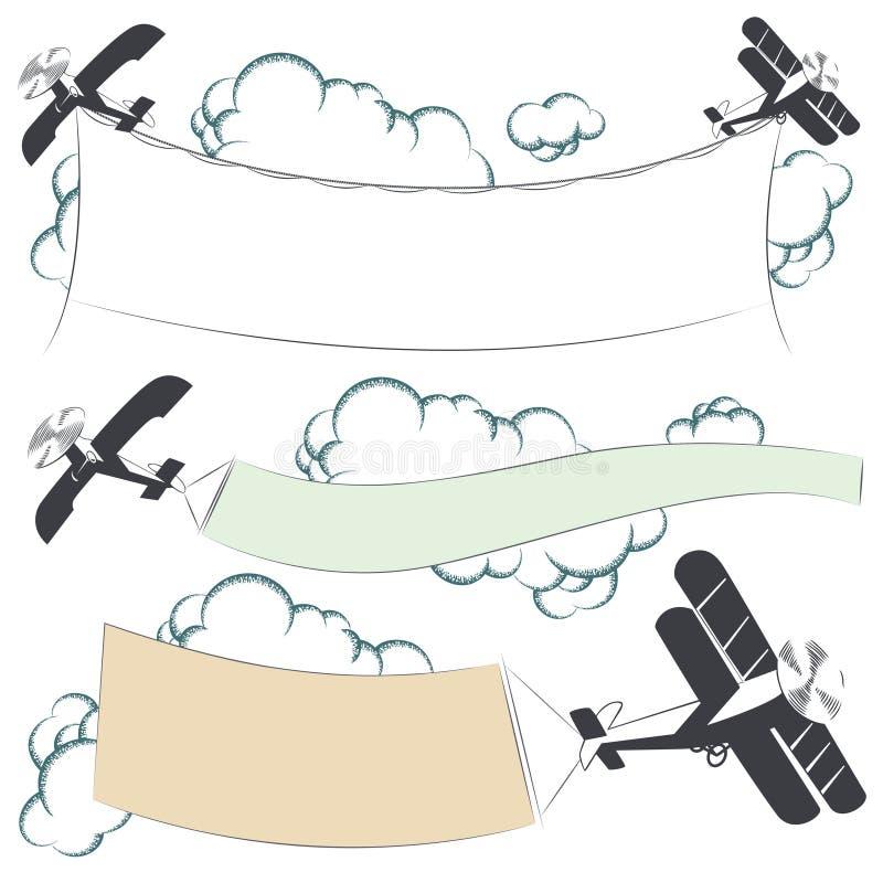 Auch im corel abgehobenen Betrag Doppeldeckerflugzeuge, die Reklameanzeigefahne ziehen lizenzfreie abbildung