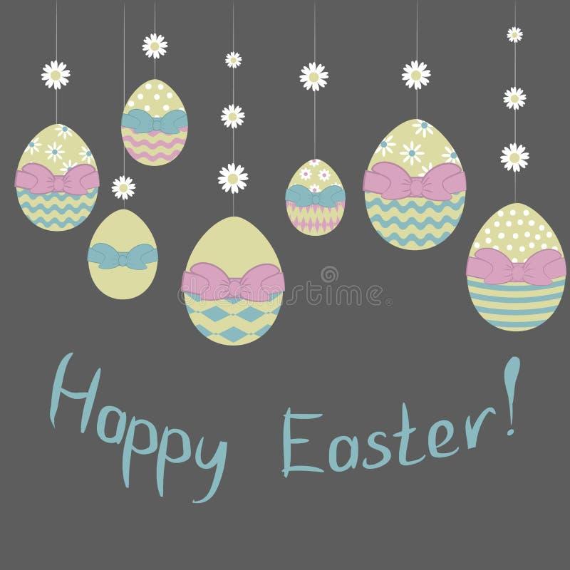 Auch im corel abgehobenen Betrag Easterdecorative-Eier hängen an der Blumengirlande mit glücklicher Ostern-Phrase auf dunklem Hin lizenzfreie stockbilder