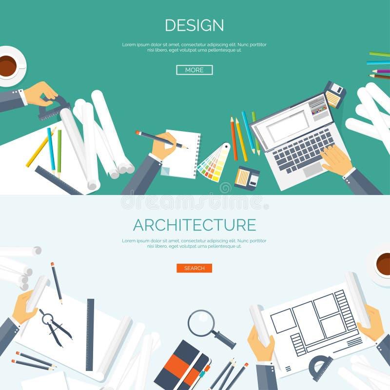 Auch im corel abgehobenen Betrag Flaches Architekturprojekt Teamwork-Gebäude und Planungsbau Bleistifthand Architektur vektor abbildung