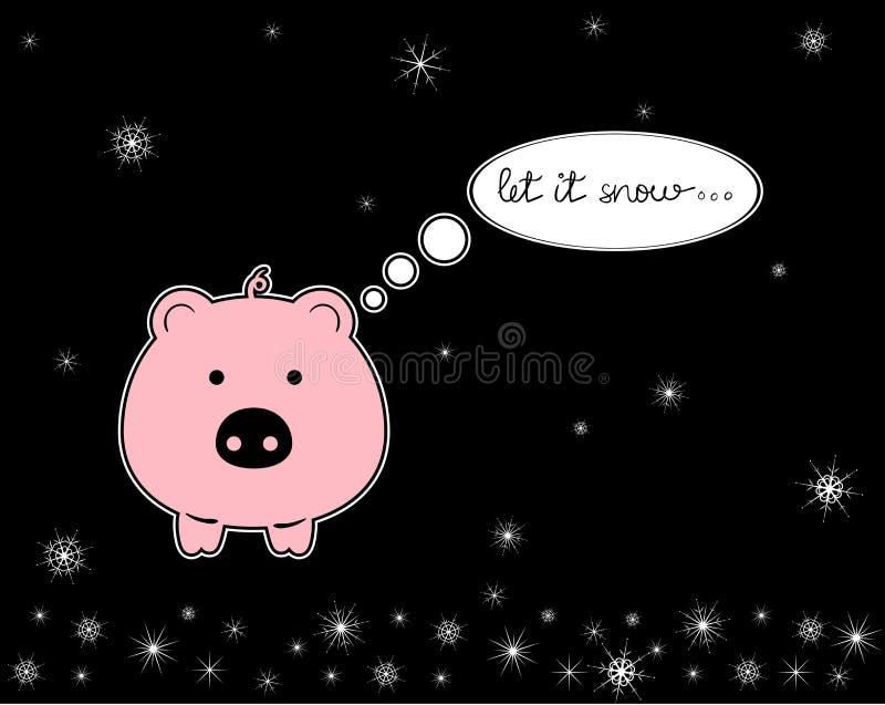 Auch im corel abgehobenen Betrag glückliches Schwein der Karikatur lizenzfreie abbildung