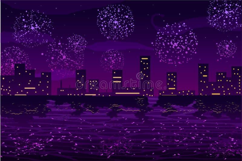 Auch im corel abgehobenen Betrag Grüße und Feuerwerke in der Nachtstadt auf dem Ozean lizenzfreie abbildung