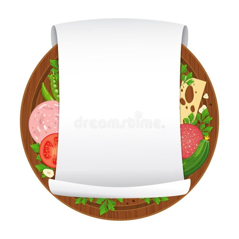 Auch im corel abgehobenen Betrag Hölzernes Schneidebrett mit Wurst, Käse, Gemüse, Gewürze und leeren gekräuseltes Blatt des leere stock abbildung