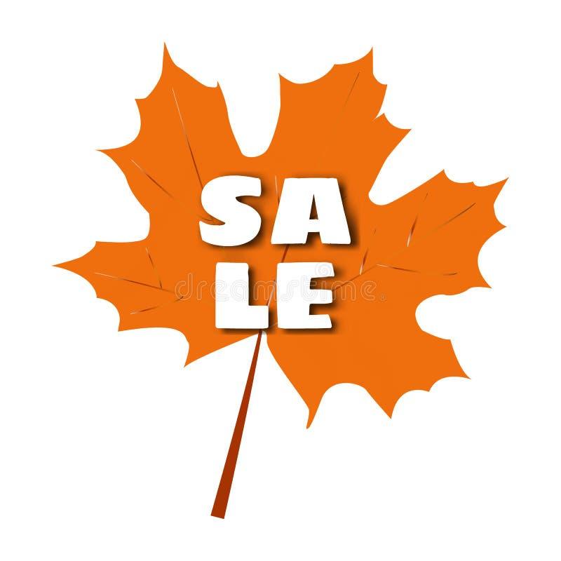 Auch im corel abgehobenen Betrag Herbstblatt mit dem Aufschriftverkauf stock abbildung