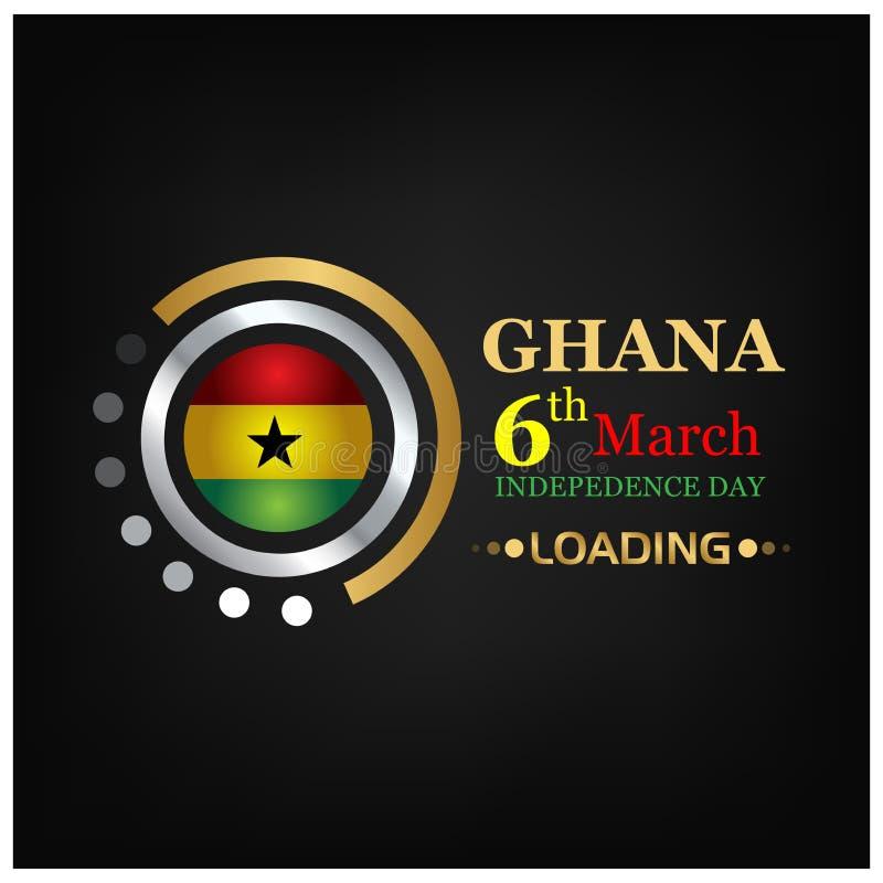 Auch im corel abgehobenen Betrag Hintergrund Ghana-Nationalfeiertag vom 6. März Designe für Poster, Hintergründe, Karten, Fahnen, lizenzfreie abbildung