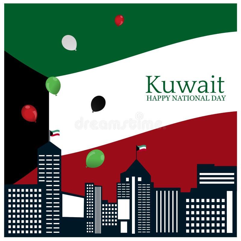 Auch im corel abgehobenen Betrag Hintergrund Kuwait-Nationalfeiertag Designe für Poster, Hintergründe, Karten, Fahnen, Aufkleber, stock abbildung