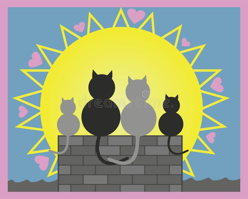 Auch im corel abgehobenen Betrag Katzen in der Liebe auf Dach mit ihrem Kätzchen Valentinstag, aller Herztag oder Liebe vektor abbildung