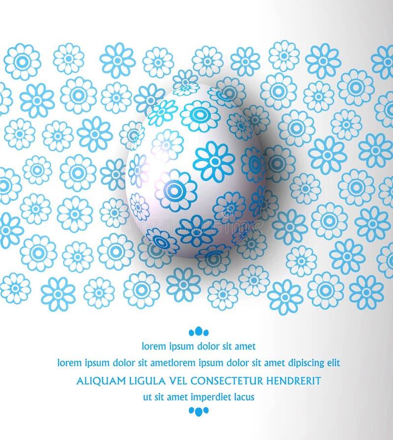Auch im corel abgehobenen Betrag Osterei mit blauem Muster auf einem Blumenbac vektor abbildung