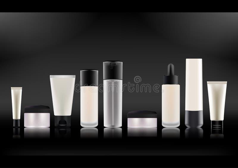 Auch im corel abgehobenen Betrag Satz realistische kosmetische Flaschen Weißer Plastik, Matttransparentes, Glas mit schwarzen Abd vektor abbildung
