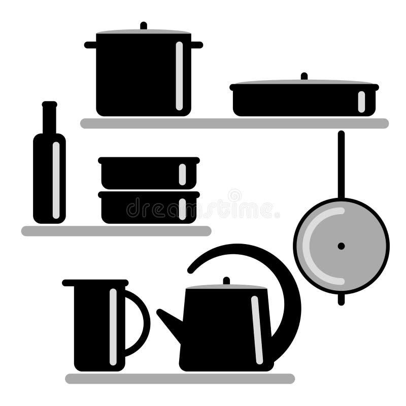 Auch im corel abgehobenen Betrag Schattenbilder von Küchenregalen und -Kochgeräten vektor abbildung