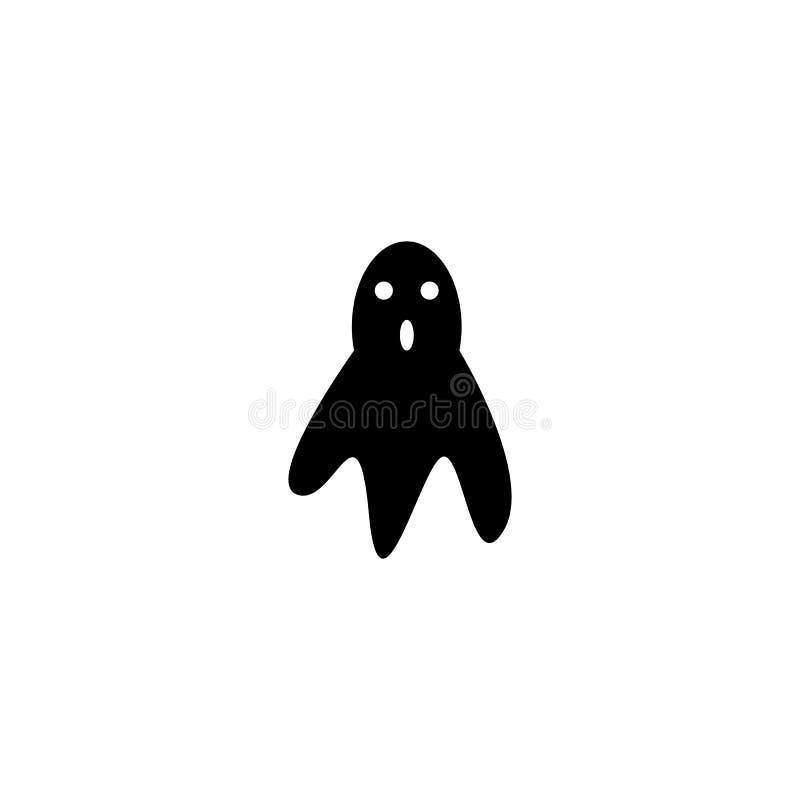Auch im corel abgehobenen Betrag Schwarze Geistikone lokalisiert auf weißem Hintergrund Traditionelles Halloween-Symbol lizenzfreie abbildung