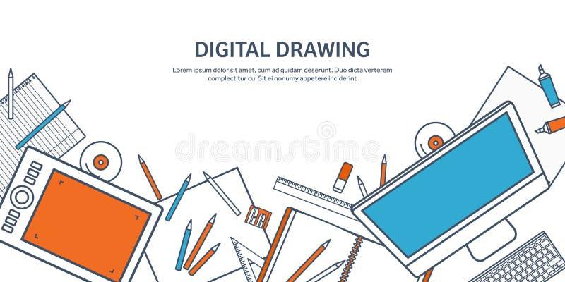 Auch im corel abgehobenen Betrag Studie und Bildung Gezeichnete flache Art Wissen, Informationen Schullernprozeß Online vektor abbildung