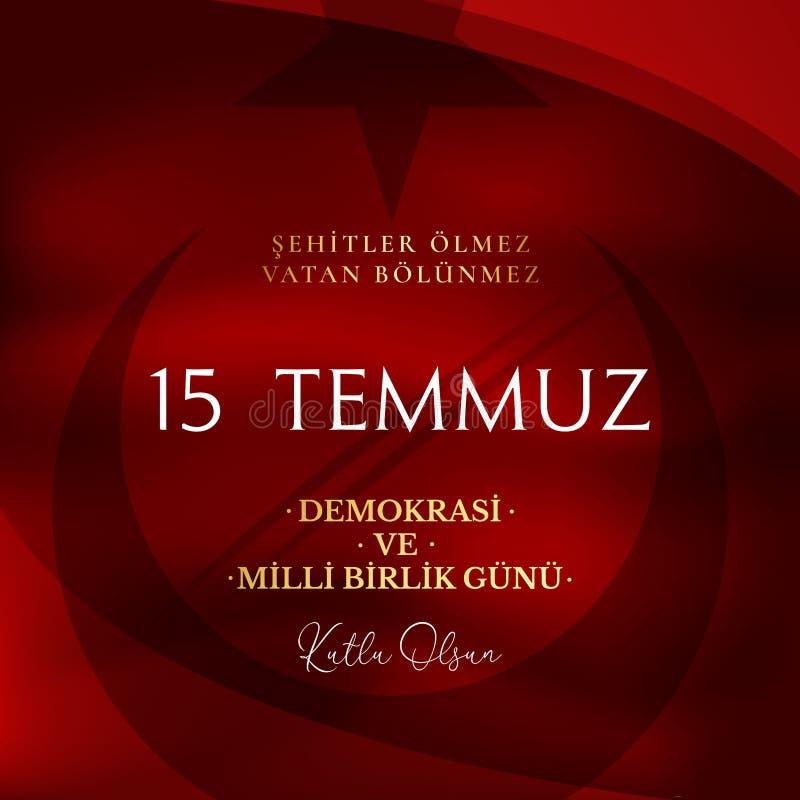 Auch im corel abgehobenen Betrag T?rkischer Feiertag Übersetzung von türkischem: Die Demokratie und der nationale Einheits-Tag vo stock abbildung