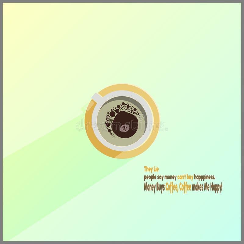 Auch im corel abgehobenen Betrag Unbedeutendes Design Tasse Kaffee auf einem hellen Hintergrund-u. Philosophiekaffee Text Beschne stock abbildung