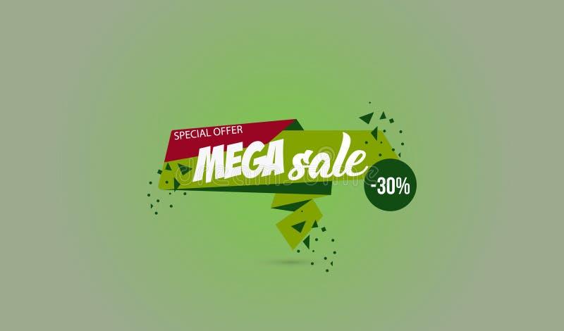 Auch im corel abgehobenen Betrag Vektorillustration ENV 10 Mega- Verkauf, begrenzte Angebot-Mega- Verkaufsfahne Abstraktes Design stock abbildung