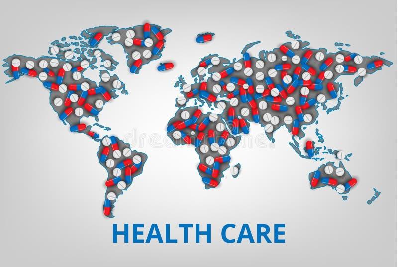 Auch im corel abgehobenen Betrag Weltgesundheitswesenorganisation Karte mit einem L stock abbildung