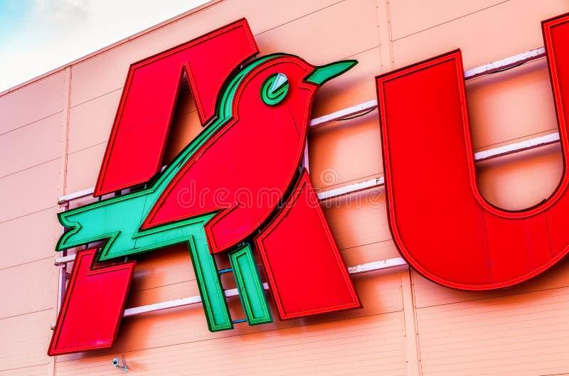 Auchan store logo. Auchan is a French international retail group. Samara, Russia - March 23, 2019: Auchan store logo. Auchan is a French international retail stock photography