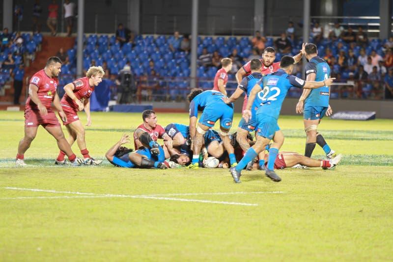 Auckland-Blau gegen Queensland-Rottöne, die in Samoa spielen lizenzfreie stockfotos