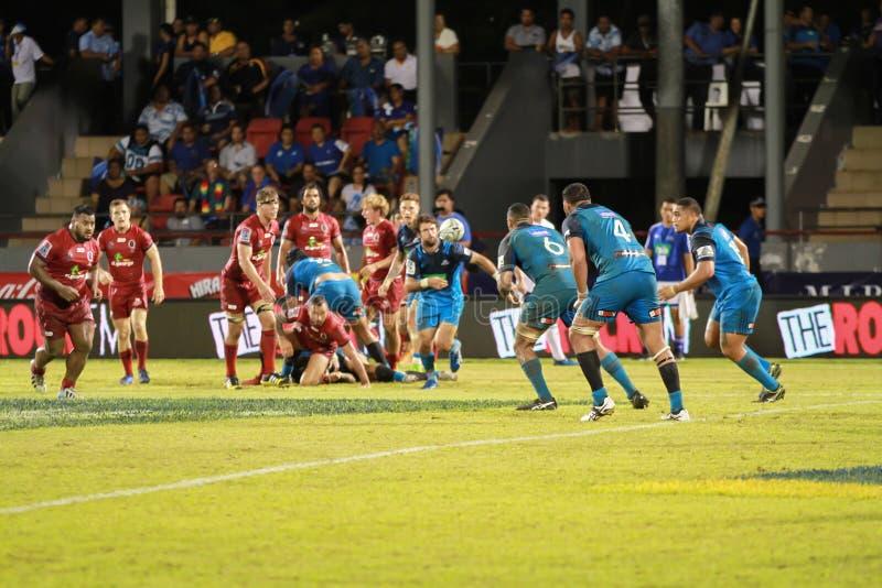 Auckland-Blau gegen Queensland-Rottöne, die in Samoa spielen lizenzfreies stockbild