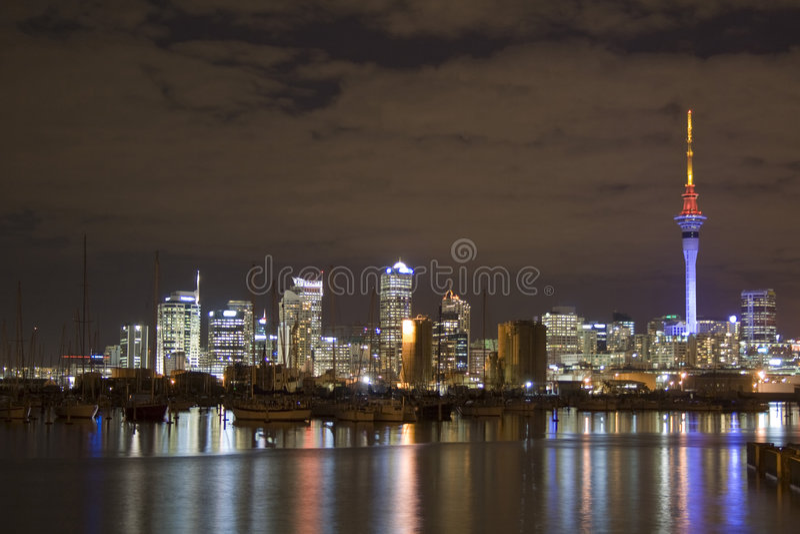Auckland City CBD at Night stock image