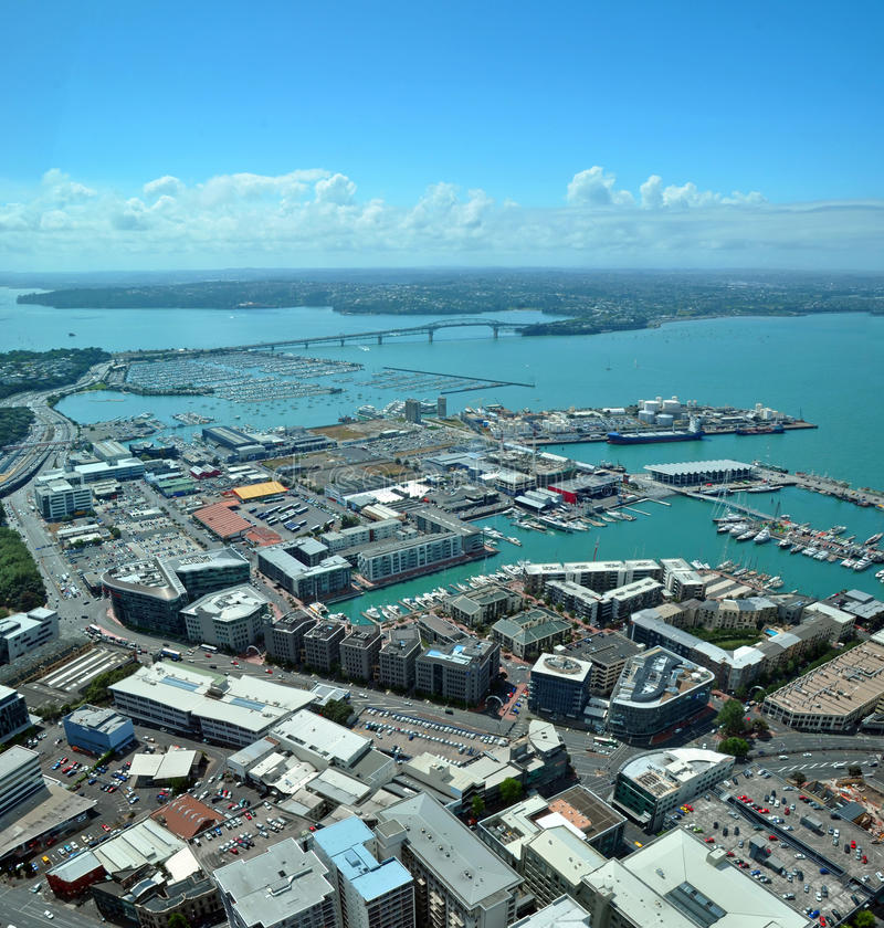 Auckland City & Harbour Aerial West, New Zealand stock images