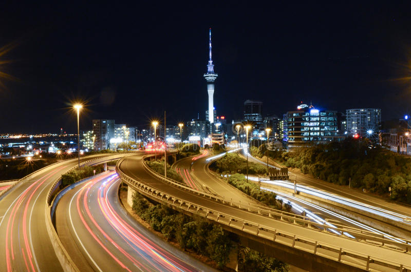 Auckland city night with the Sky Tower royalty free stock photos
