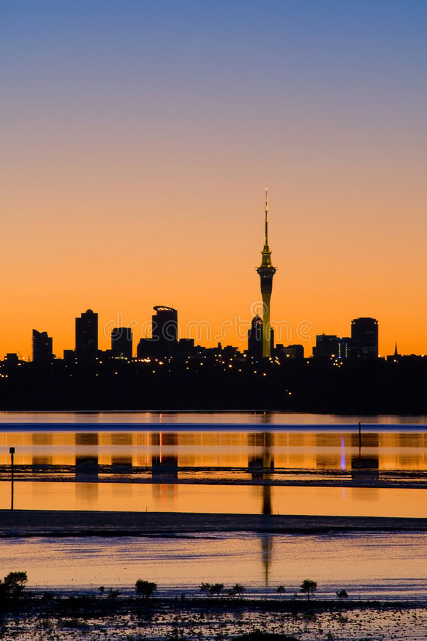 Auckland City Sunrise Sillhouette Royalty Free Stock Images