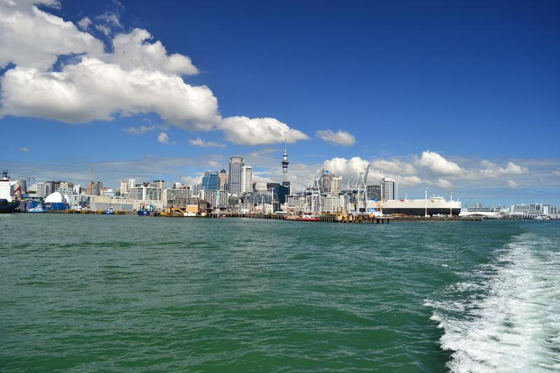 Auckland city view from ferry, New Zealand royalty free stock images