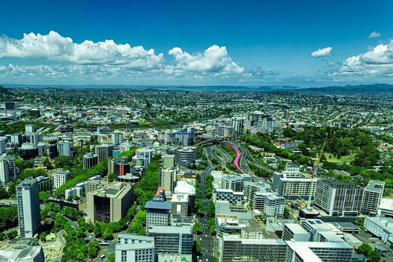 Auckland city view from the Sky Tower royalty free stock images