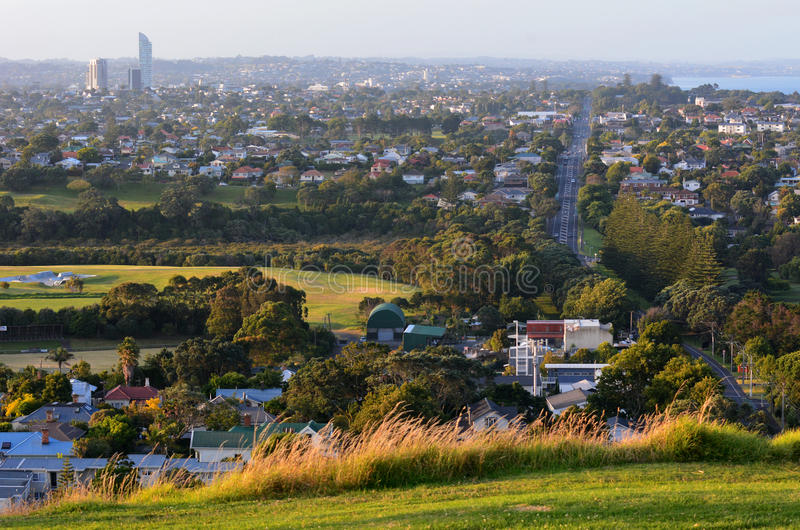 Auckland Cityscape - North Shore. AUCKLAND,NZ - JAN 11:Auckland north shore on JAN 11 2014.House prices are booming around New Zealand - with the average price royalty free stock photos