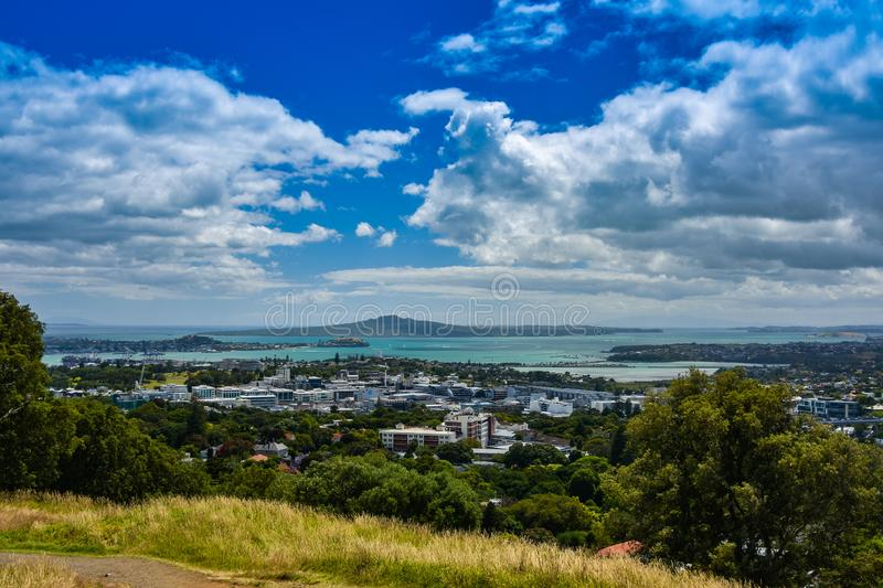 Auckland coast and harbour from Mt. Eden. Auckland coast and harbour from the vantage point of Mount Eden, North Island, New Zealand royalty free stock photos