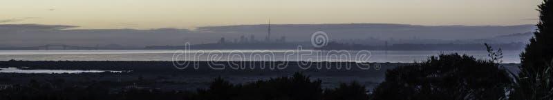 Auckland Dawn Pano stock fotografie