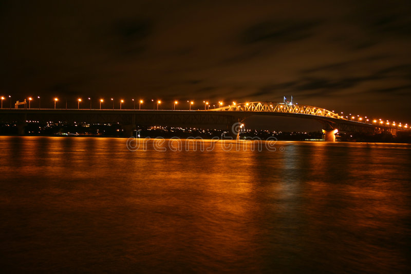 Auckland Harbour Bridge. Auckland Harbor Bridge at night new Zealand royalty free stock photography