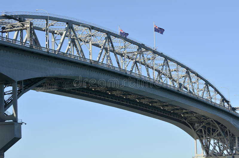 Auckland Harbour Bridge - New Zealand. AUCKLAND,NZ - MAY 27 2014:Flaggs of New Zealand on Auckland Harbor Bridge royalty free stock photo