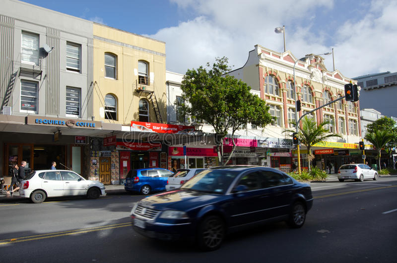 Auckland - Karangahape Road. AUCKLAND, NZ - MAY 27:Traffic on Karangahape (K) Road on May 30 2013.It considered to be one of the cultural centers of Auckland royalty free stock photography
