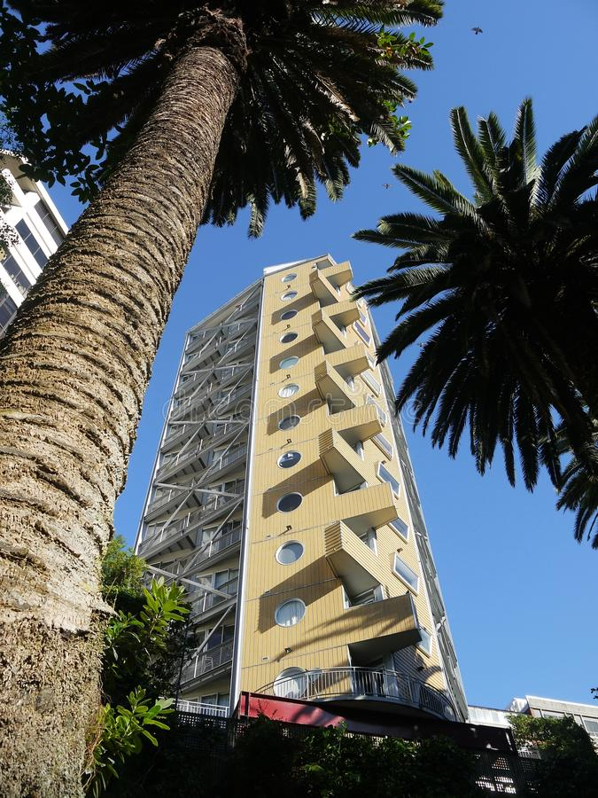 Auckland: modern apartments Phoenix palm trees stock images