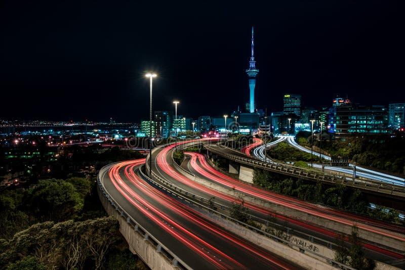 Auckland na noite fotografia de stock