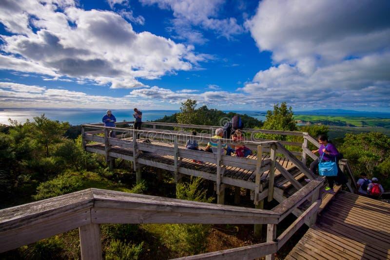 AUCKLAND, NEUES SEELAND 12. MAI 2017: Nicht identifizierte Leute, welche herein die schöne Ansicht von der Spitze im Berg genieße stockbilder