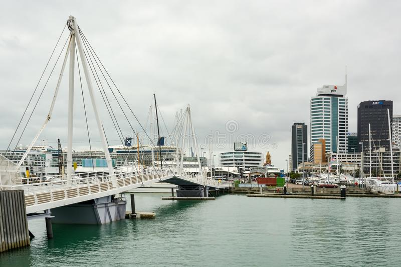 Movable bridge in Viaduct Harbour in Auckland royalty free stock photo