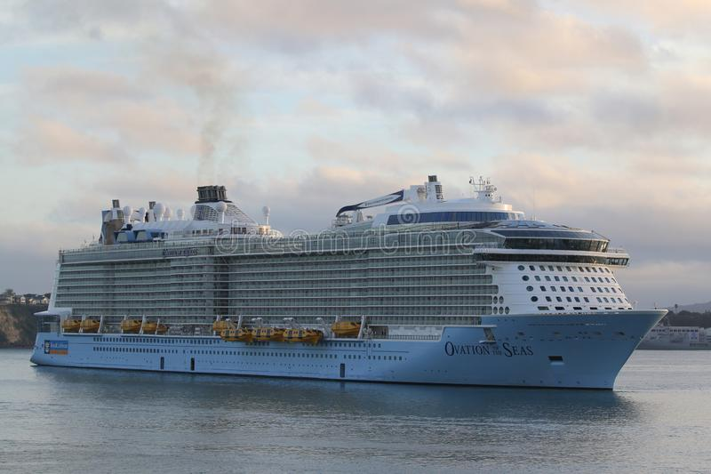 Royal Caribbean Cruise Ship Ovation of the Seas in Auckland Harbor. AUCKLAND, NEW ZEALAND - JANUARY 29, 2019: Royal Caribbean Cruise Ship Ovation of the Seas in royalty free stock photos