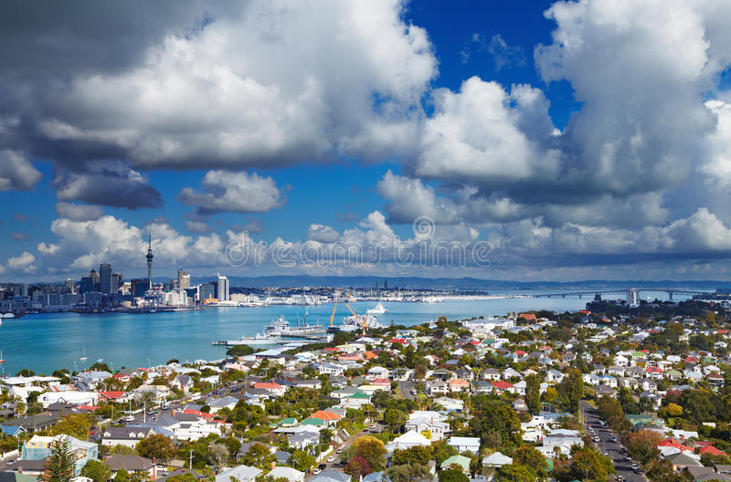 Auckland, New Zealand. Auckland is largest city of New Zealand, view from Mount Victoria, Devonport stock photography