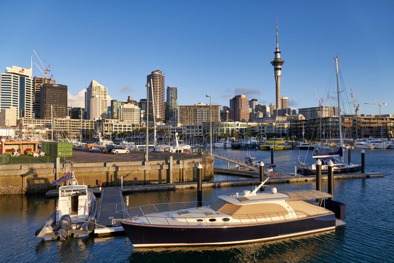 Auckland New Zealand. The skyline from Viaduct Harbour stock photos