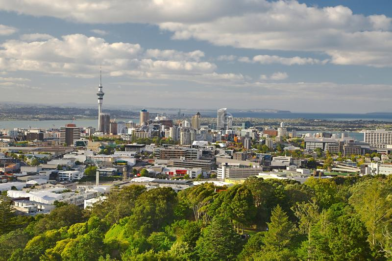 View of Auckland. Auckland, New Zealand, viewed from Mount Eden royalty free stock image